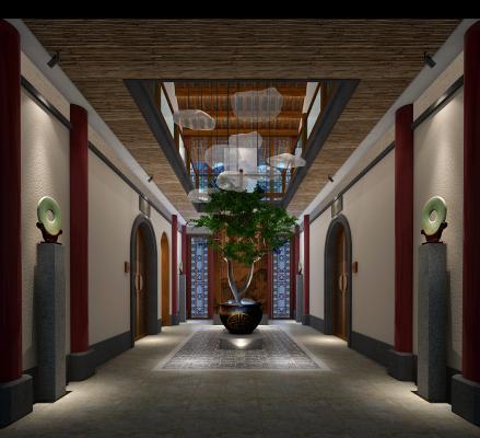 新中式民宿大堂 中庭