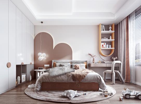 现代儿童房 床 衣柜