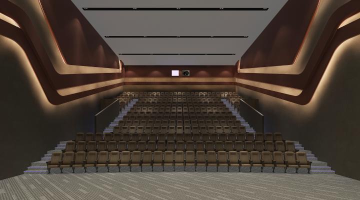 现代电影院 放映厅 台阶