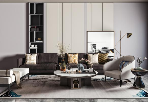 现代沙发茶几组合 皮革沙发 休闲椅