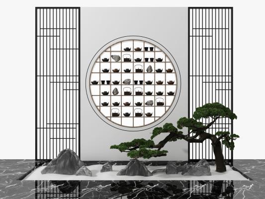 新中式花格屏风松树假山茶艺小品