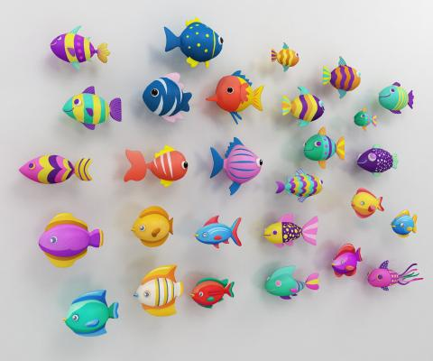 现代卡通鱼墙饰