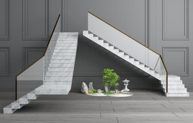 现代大理石楼梯玻璃扶手
