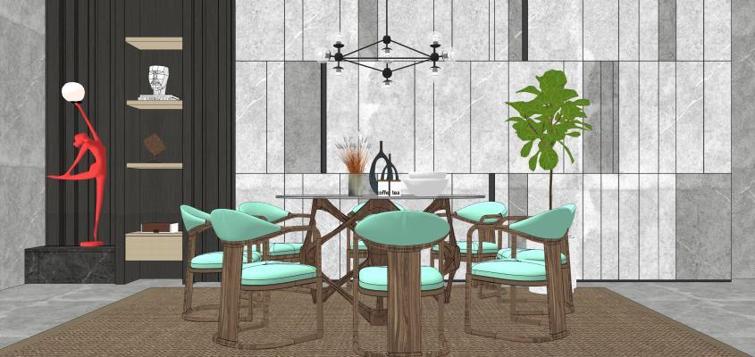 新中式风格餐厅 餐桌椅 圆桌