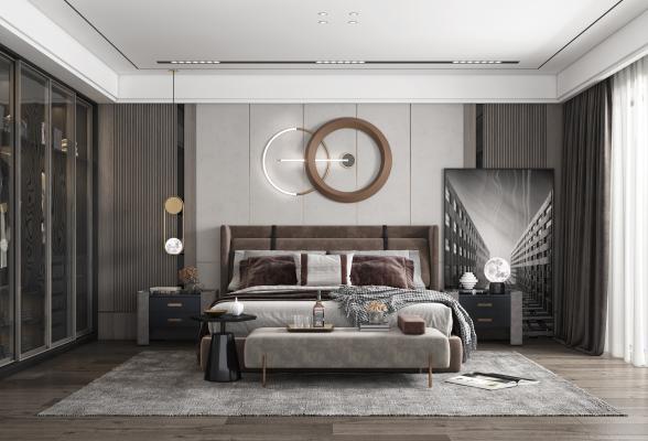 现代卧室 床 电视 窗帘 装饰画