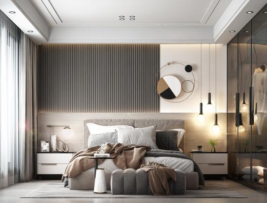 现代卧室 装饰板