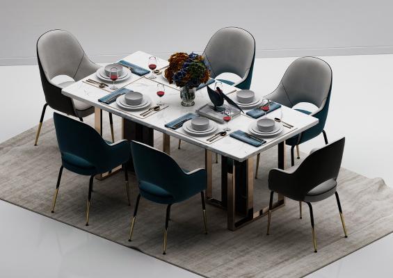 现代轻奢餐桌餐椅组合