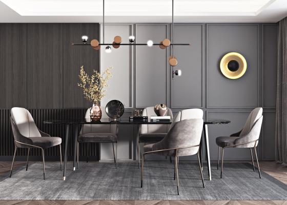现代餐桌椅组合 现代吊灯 花瓶饰品组合