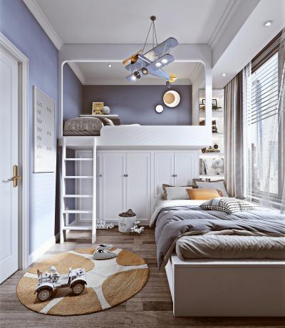 北欧儿童房 上下铺 儿童床 衣柜