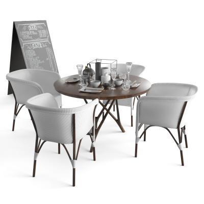 现代户外休闲桌椅 黑板 招牌