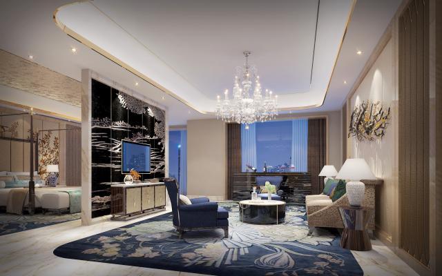 现代中式酒店客房套房客厅