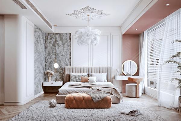 簡歐臥室 雙人床 床頭柜