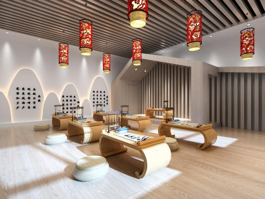新中式教室 书桌