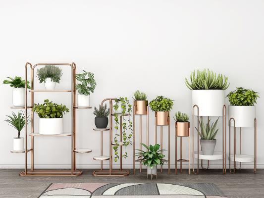 现代金属花架盆栽绿植,花盆,阳台绿植