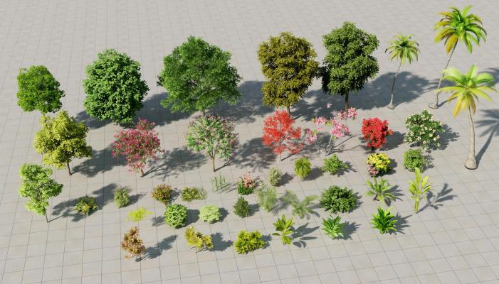 现代鸟瞰树木 园林植物 椰子树 灌木 花 草 热带树 芭蕉树 东南亚树