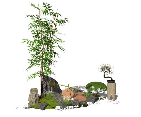 新中式景观小品 跌水景观 石头 植物 庭院景观