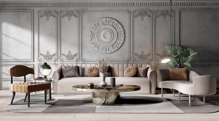 美式简约风格沙发茶几 组合沙发 椅子