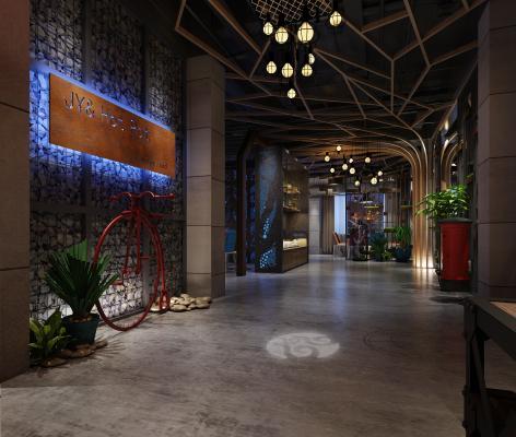 工业风酒店走廊 过道
