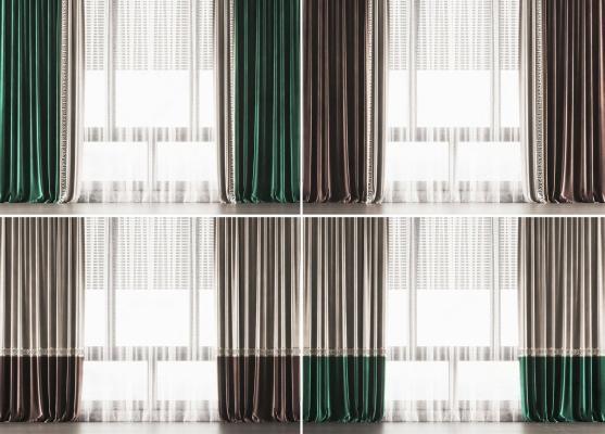 新中式窗帘窗纱组合