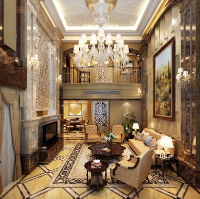 欧式复式客厅