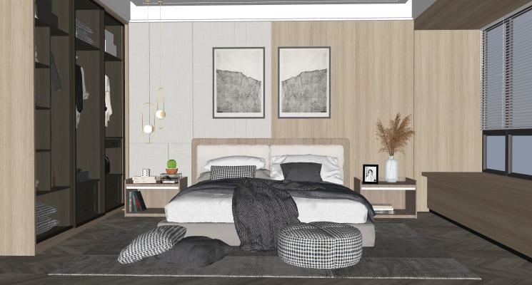 北欧卧室 双人床 床头柜 玻璃衣柜