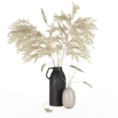 现代花瓶 干草