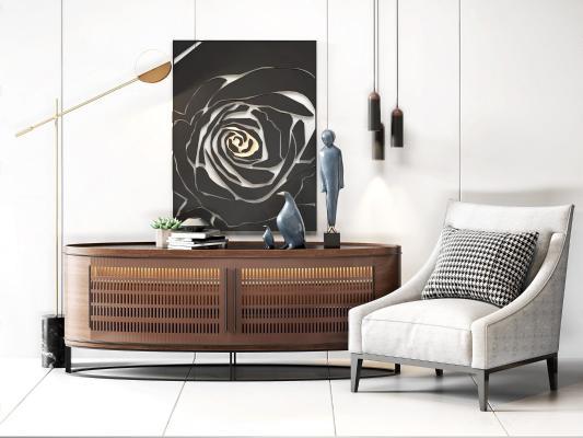 北欧装饰柜 单人沙发