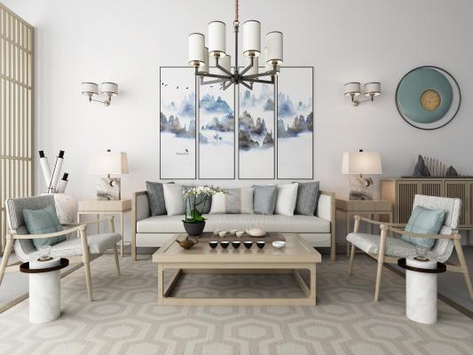 新中式沙发茶几 吊灯 地毯组合