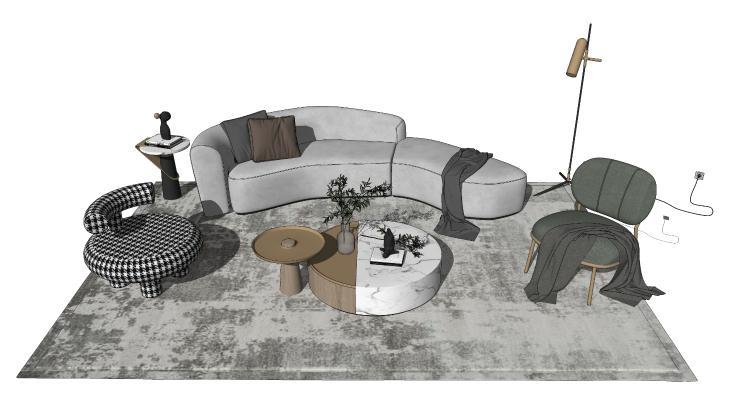 现代组合沙发 沙发茶几组合