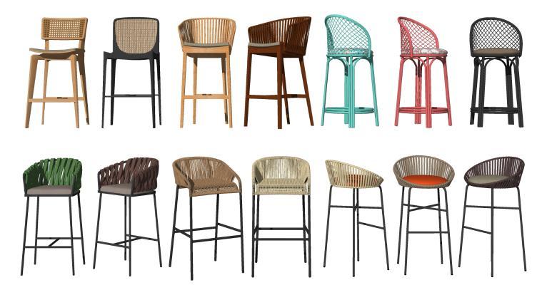 现代藤艺吧椅 高脚凳 编织椅