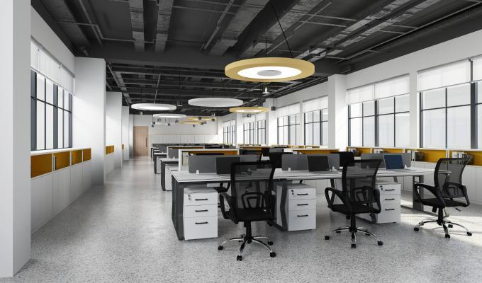 现代办公区 吊灯 办公桌椅