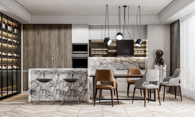 现代开放式厨房 餐桌椅组合 酒柜 厨房用品组合