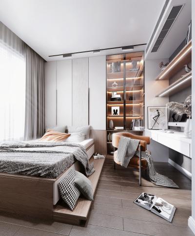 现代榻榻米卧室 书柜