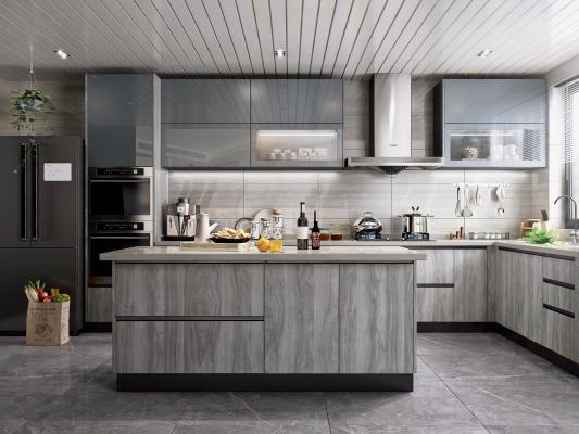 现代风格开放式厨房 厨房电器 厨房用品