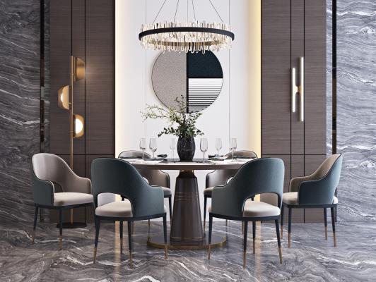 现代轻奢餐桌椅组合 吊灯 花瓶 饰品组合