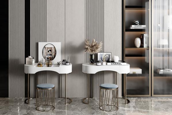 现代梳妆台 桌子 凳子 装饰品