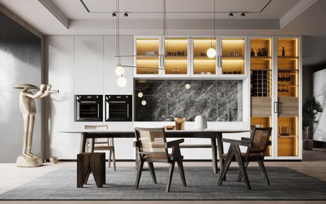 现代餐厅 餐桌椅
