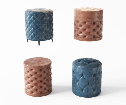 现代皮质沙发凳 脚踏 圆凳组合