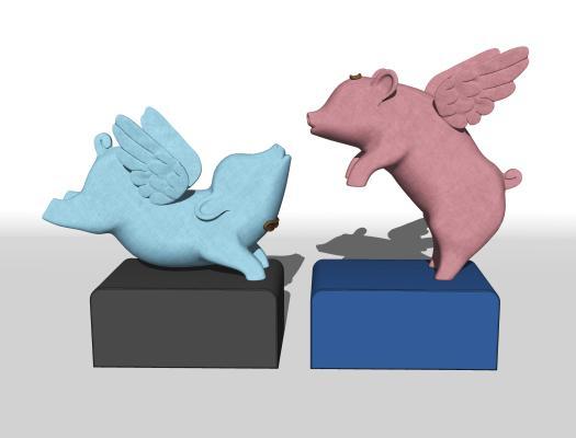 现代卡通猪雕塑 摆件