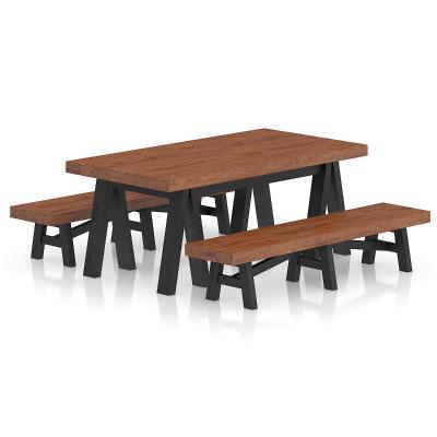 现代长条桌凳组合