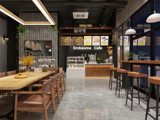 工业风咖啡店 收银台 吊灯