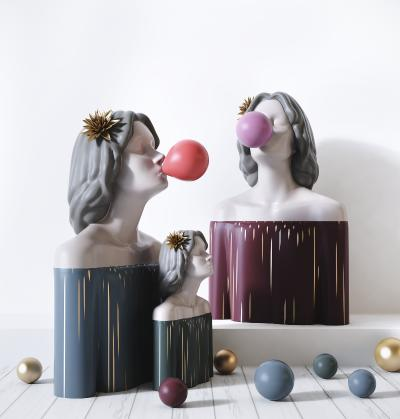 现代北欧女孩雕塑 装饰摆件