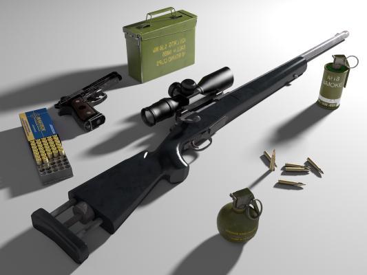 现代战争武器 枪械单发狙击步枪M24 手枪 子弹