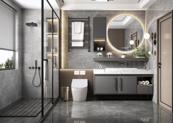 现代卫生间 浴室 卫浴柜 淋浴柜 洗手台盆 智能镜 卫浴组合