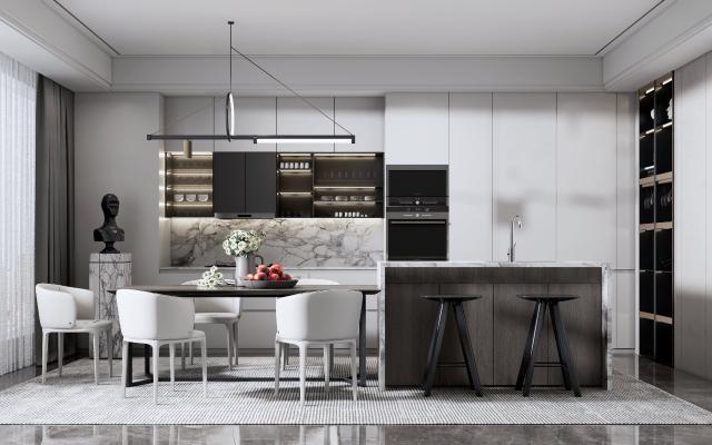 现代开放式厨房 餐桌椅组合 吧台椅组合 橱柜