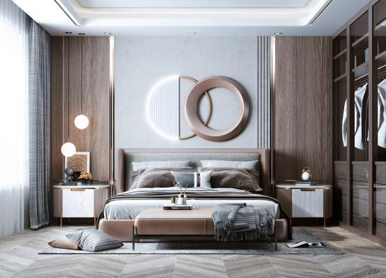 现代轻奢卧室 床 衣柜