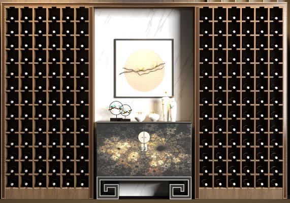 新中式风格酒柜 端景柜 饰品