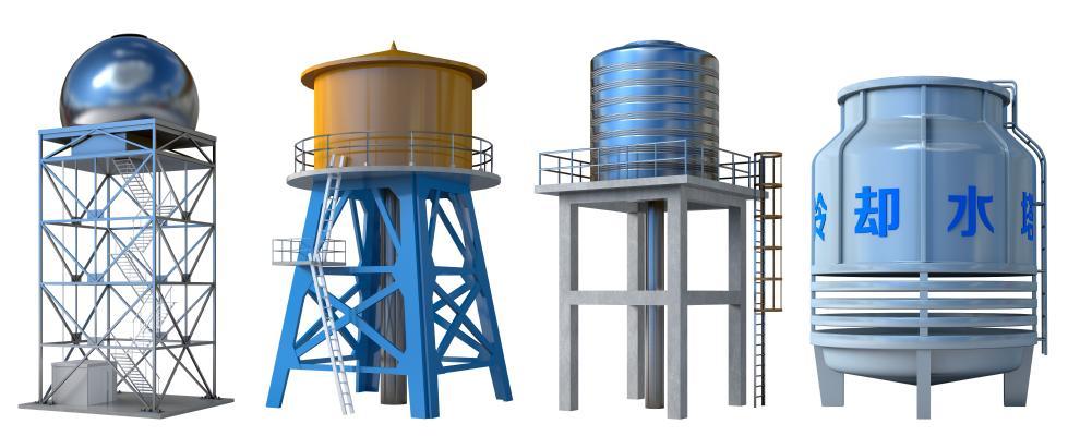 现代冷却水塔 储水罐 水塔