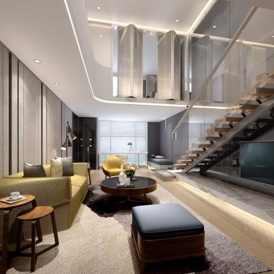 现代客厅 沙发 茶几 台灯