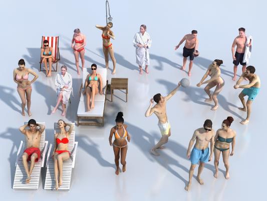 现代人物 多人 泳装人物